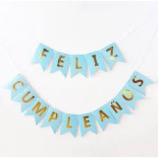 BANNER CELESTE/DORADO  FELIZ CUMPLE PARTY TIME