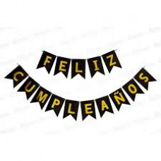 BANNER NGO/DORADO FELIZ CUMPLEANOS PARTY TIME