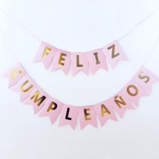 BANNER ROSA/DORADO FELIZ CUMPLEA#OS PARTY TIME